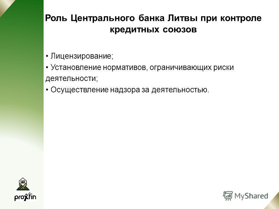 Роль Центрального банка Литвы при контроле кредитных союзов Лицензирование; Установление нормативов, ограничивающих риски деятельности; Осуществление надзора за деятельностью.