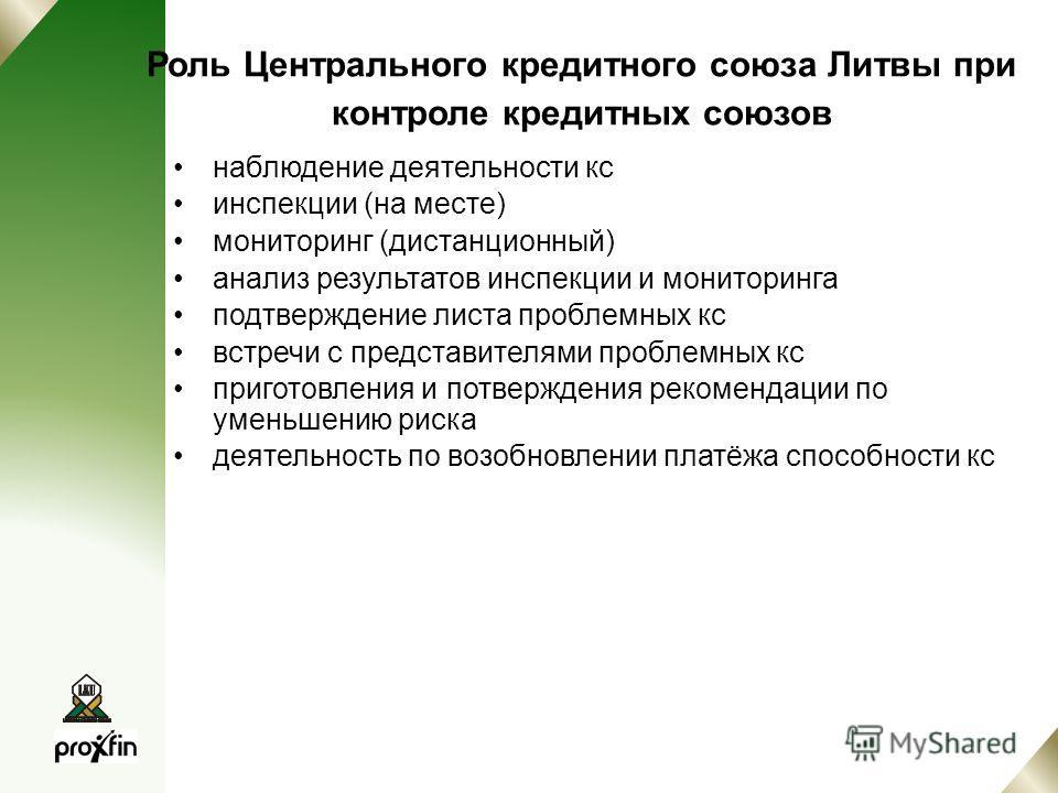 Роль Центрального кредитного союза Литвы при контроле кредитных союзов наблюдение деятельности кс инспекции (на месте) мониторинг (дистанционный) анализ результатов инспекции и мониторинга подтверждение листа проблемных кс встречи с представителями п