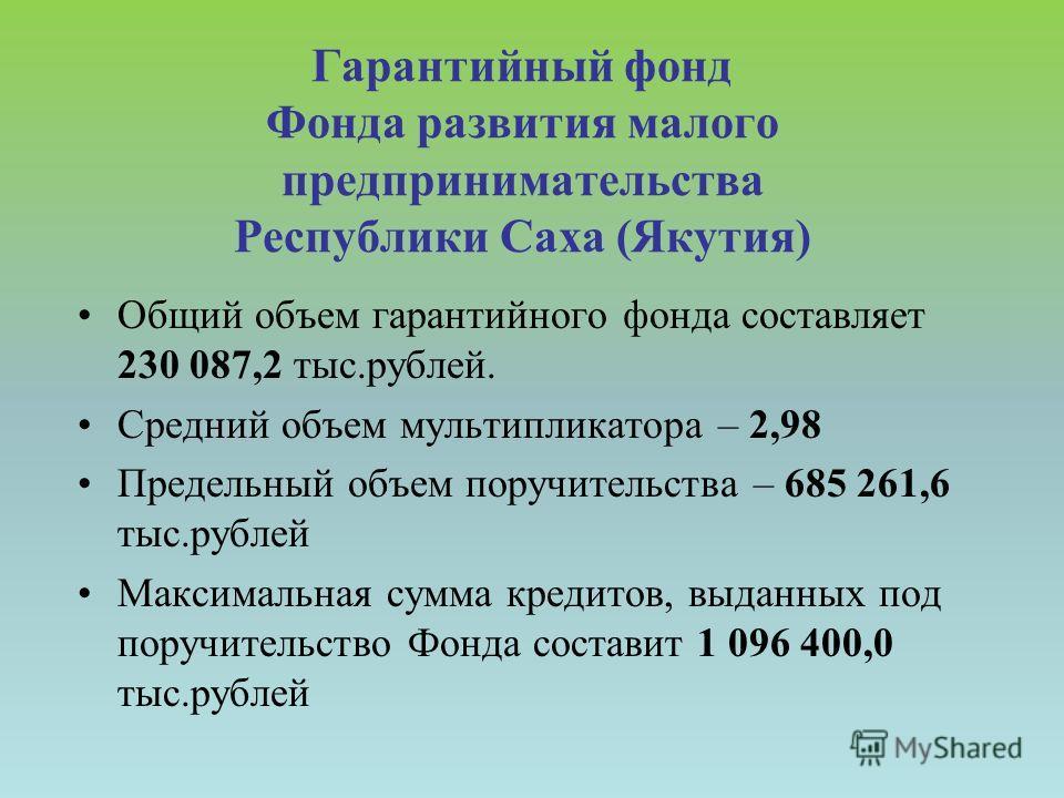 Гарантийный фонд Фонда развития малого предпринимательства Республики Саха (Якутия) Общий объем гарантийного фонда составляет 230 087,2 тыс.рублей. Средний объем мультипликатора – 2,98 Предельный объем поручительства – 685 261,6 тыс.рублей Максимальн
