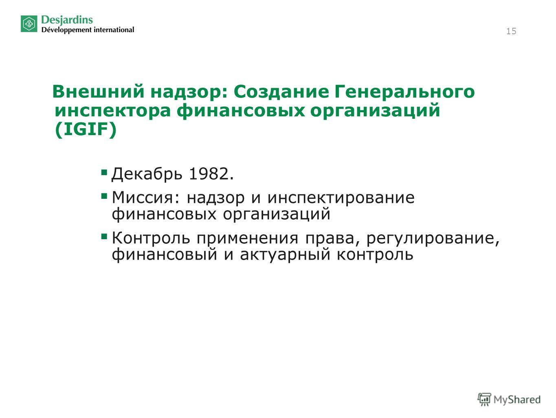 15 Внешний надзор: Создание Генерального инспектора финансовых организаций (IGIF) Декабрь 1982. Миссия: надзор и инспектирование финансовых организаций Контроль применения права, регулирование, финансовый и актуарный контроль