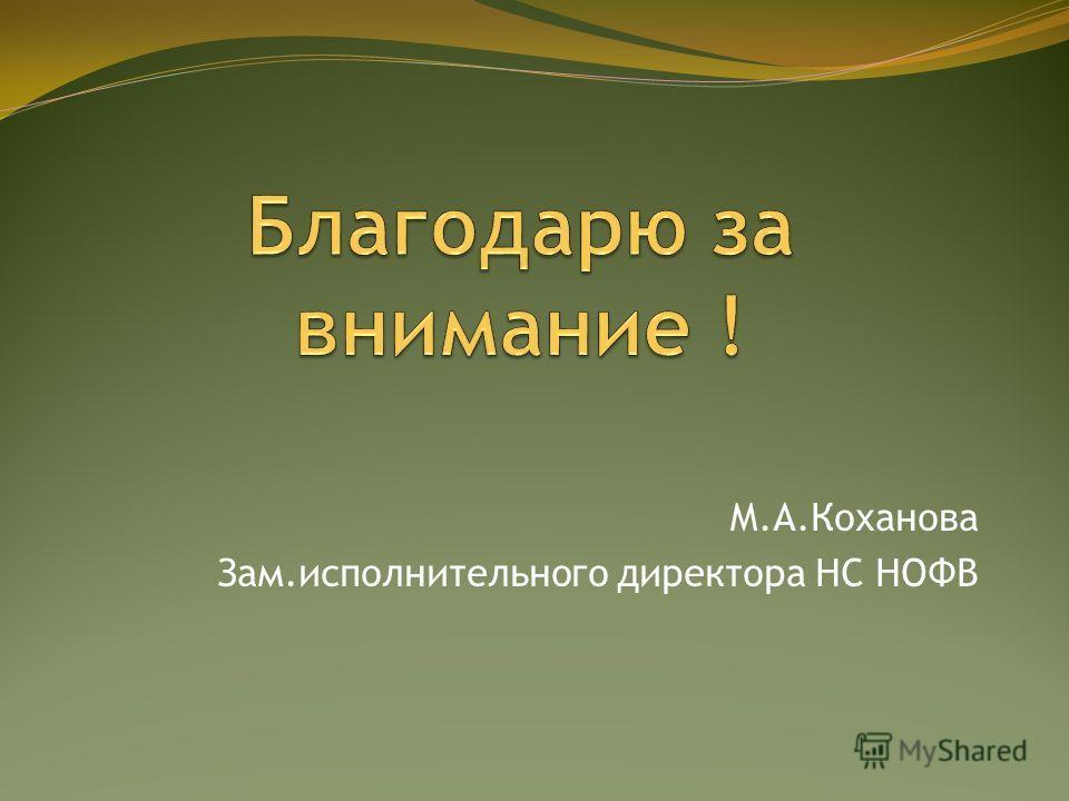 М.А.Коханова Зам.исполнительного директора НС НОФВ