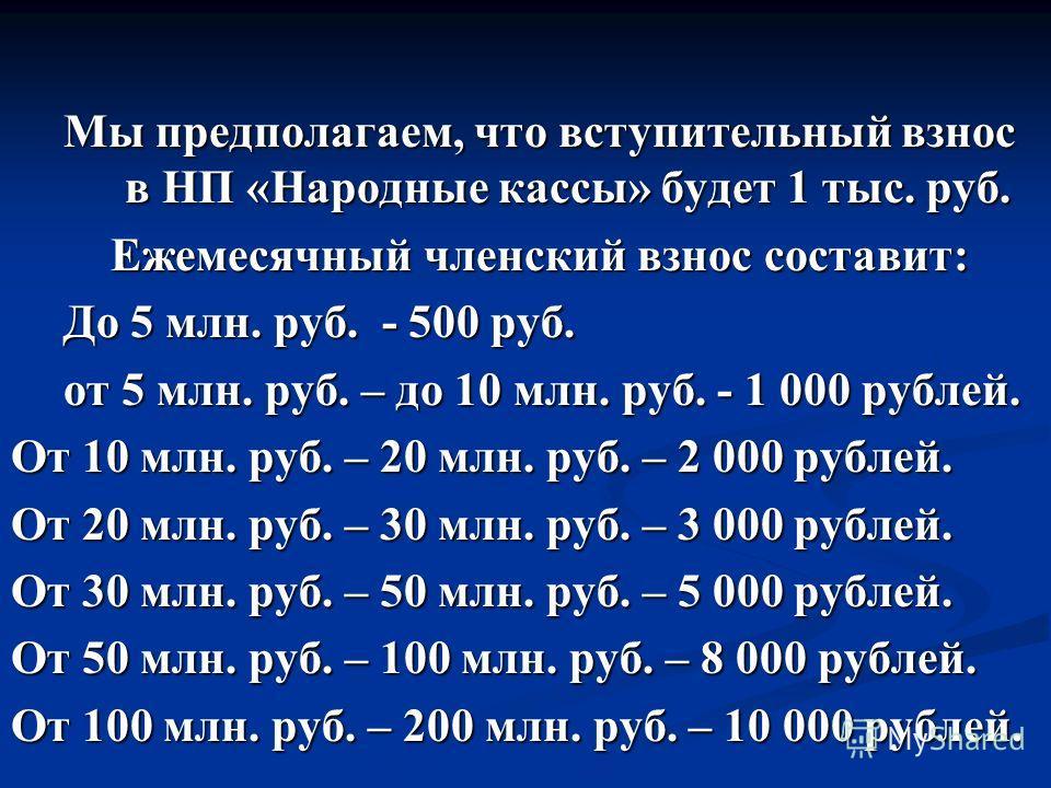 Мы предполагаем, что вступительный взнос в НП «Народные кассы» будет 1 тыс. руб. Ежемесячный членский взнос составит: Ежемесячный членский взнос составит: До 5 млн. руб. - 500 руб. от 5 млн. руб. – до 10 млн. руб. - 1 000 рублей. От 10 млн. руб. – 20