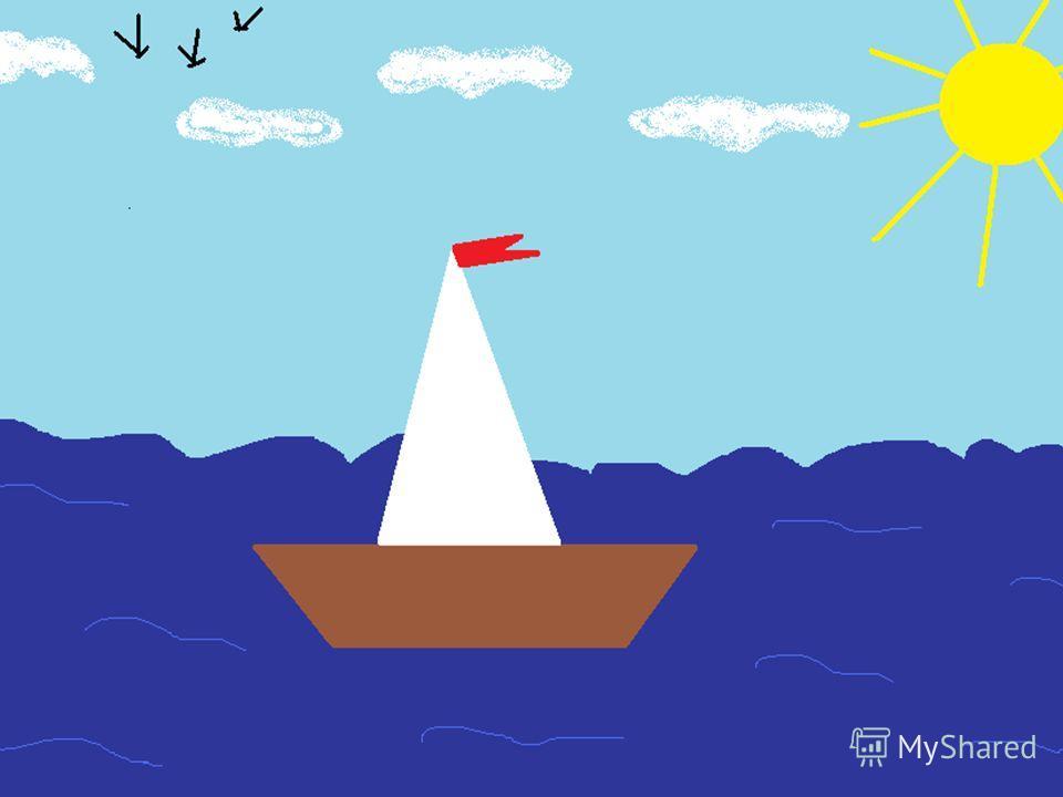 Запусти Paint. Установи размер страницы 900 на 600 пикселей («Рисунок» - «Атрибуты»). Залей фон голубым цветом; Используя «Карандаш» нарисуй волны и птиц; Используя «Распылитель» нарисуй облака; Используя залитый «Элипс» и «Линия» нарисуй солнце; Исп
