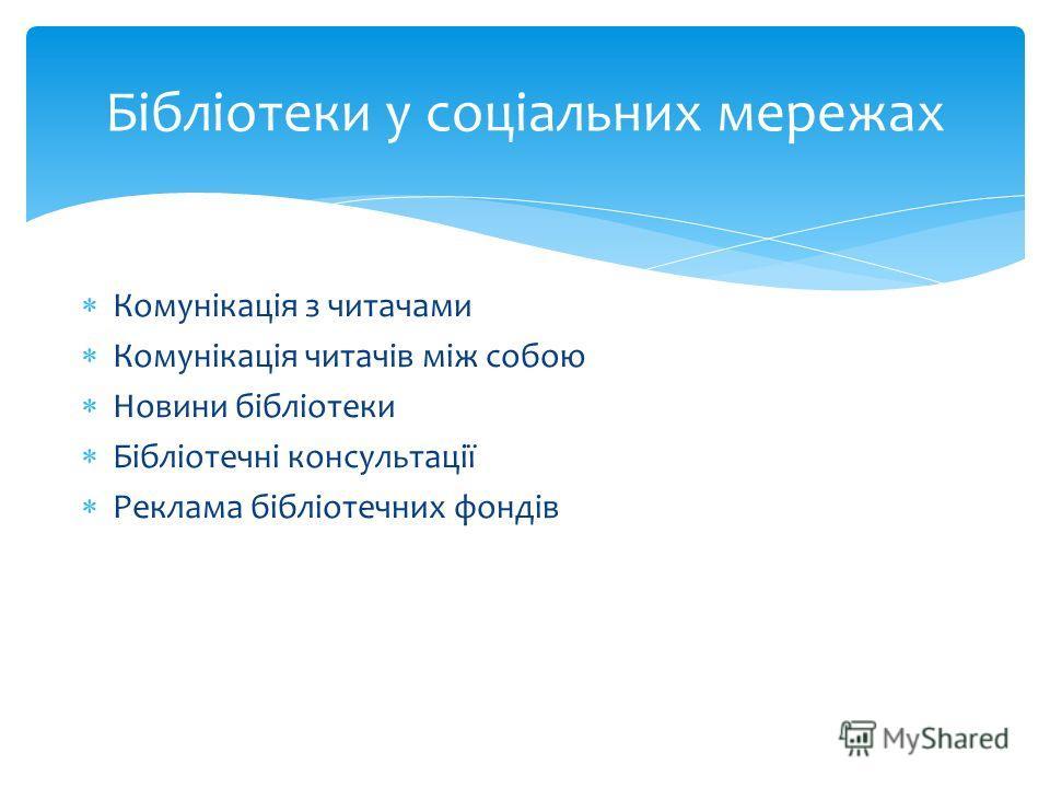 Комунікація з читачами Комунікація читачів між собою Новини бібліотеки Бібліотечні консультації Реклама бібліотечних фондів Бібліотеки у соціальних мережах