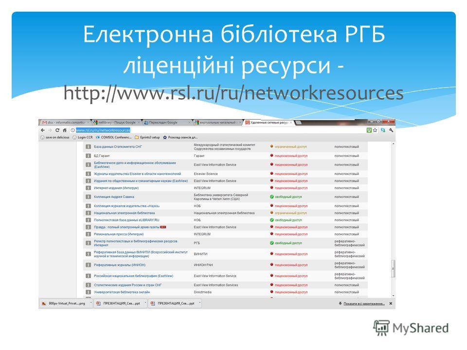 Електронна бібліотека РГБ ліценційні ресурси - http://www.rsl.ru/ru/networkresources