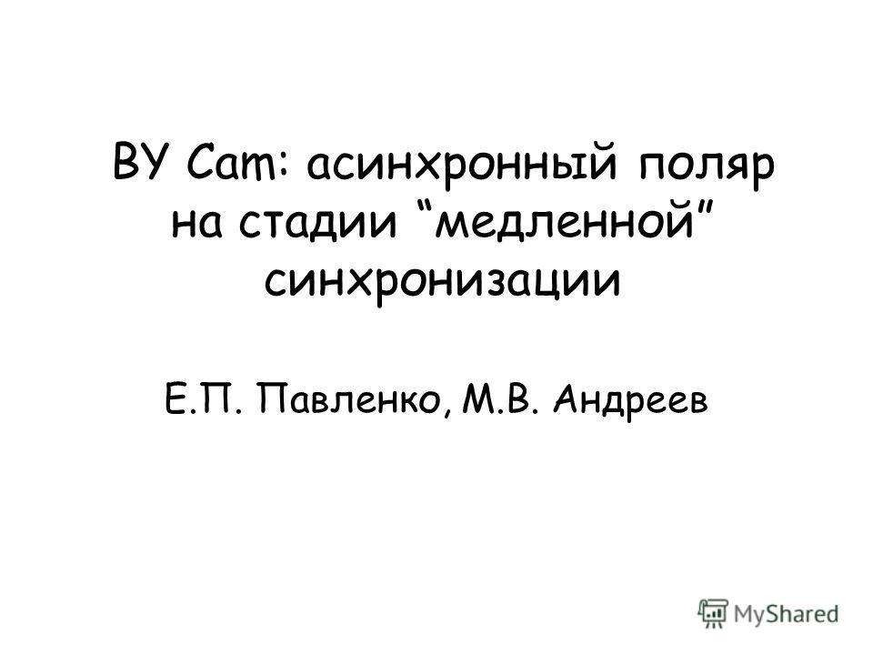 BY Cam: асинхронный поляр на стадии медленной синхронизации Е.П. Павленко, М.В. Андреев
