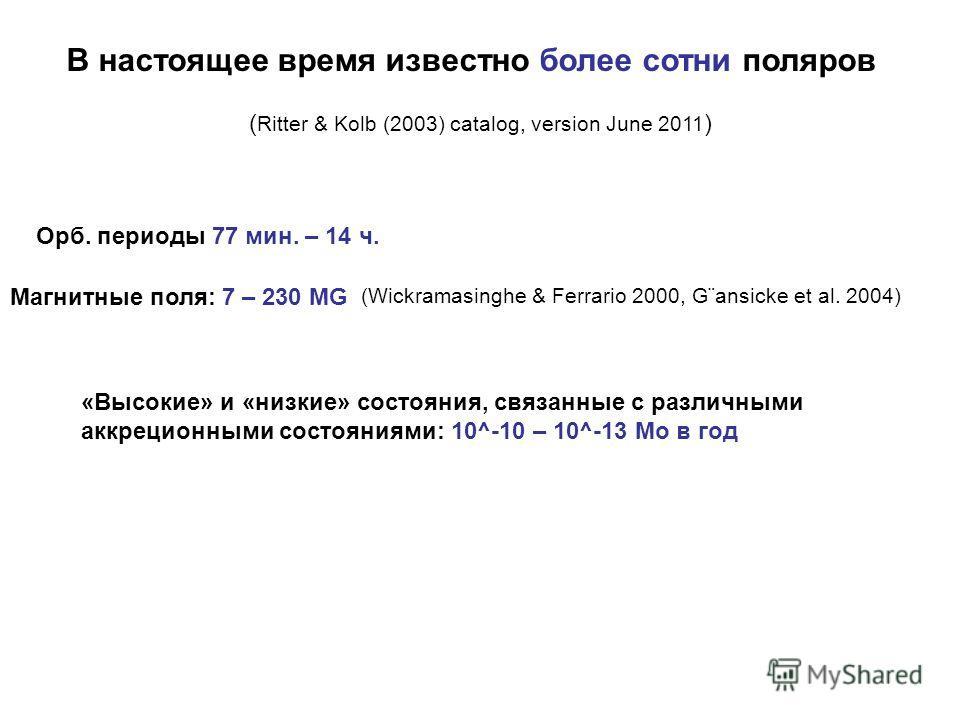 В настоящее время известно более сотни поляров ( Ritter & Kolb (2003) catalog, version June 2011 ) Орб. периоды 77 мин. – 14 ч. (Wickramasinghe & Ferrario 2000, G¨ansicke et al. 2004) Магнитные поля: 7 – 230 MG «Высокие» и «низкие» состояния, связанн
