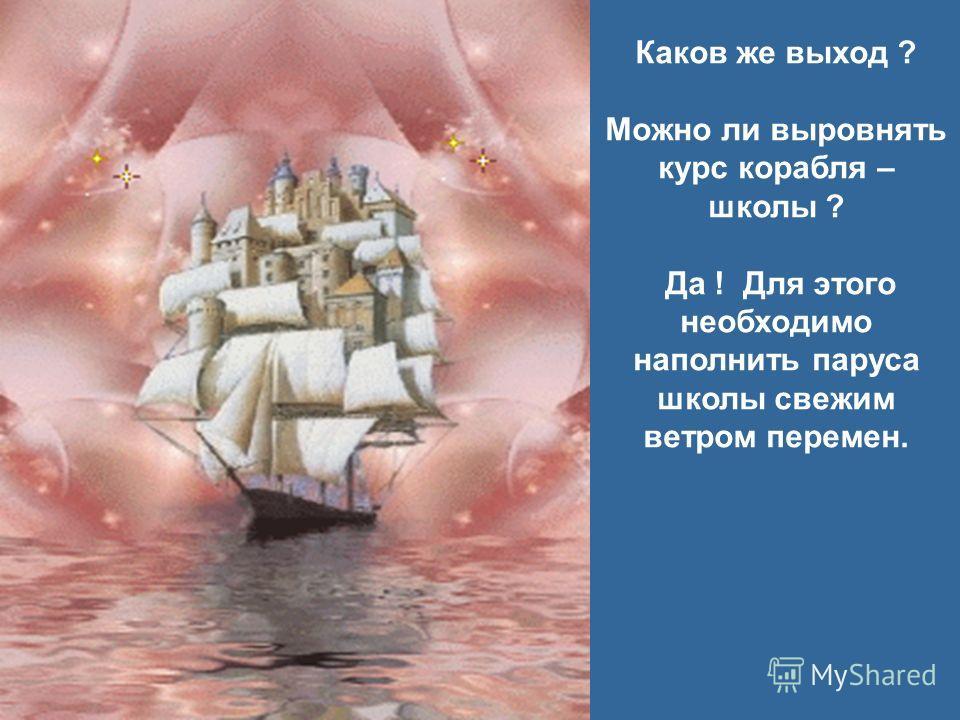 Каков же выход ? Можно ли выровнять курс корабля – школы ? Да ! Для этого необходимо наполнить паруса школы свежим ветром перемен.