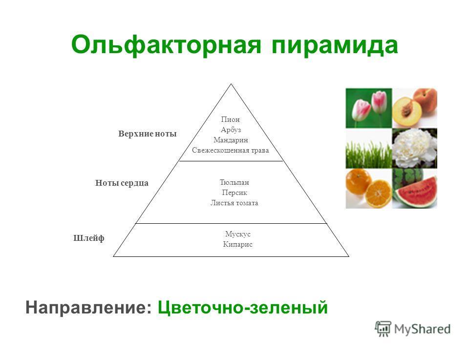 Ольфакторная пирамида Направление: Цветочно-зеленый Пион Арбуз Мандарин Свежескошенная трава Тюльпан Персик Листья томата Мускус Кипарис Верхние ноты Ноты сердца Шлейф