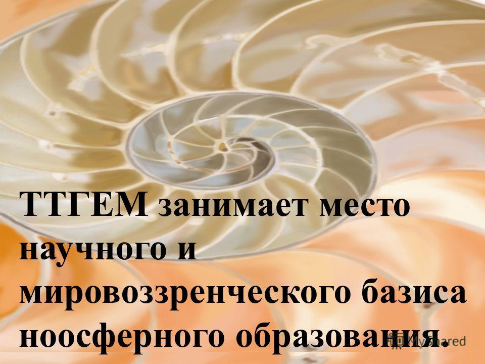 ТТГЕМ занимает место научного и мировоззренческого базиса ноосферного образования.