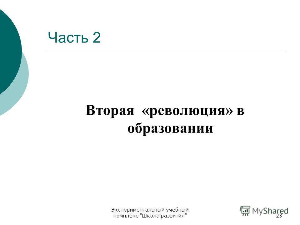 Экспериментальный учебный комплекс Школа развития23 Часть 2 Вторая «революция» в образовании