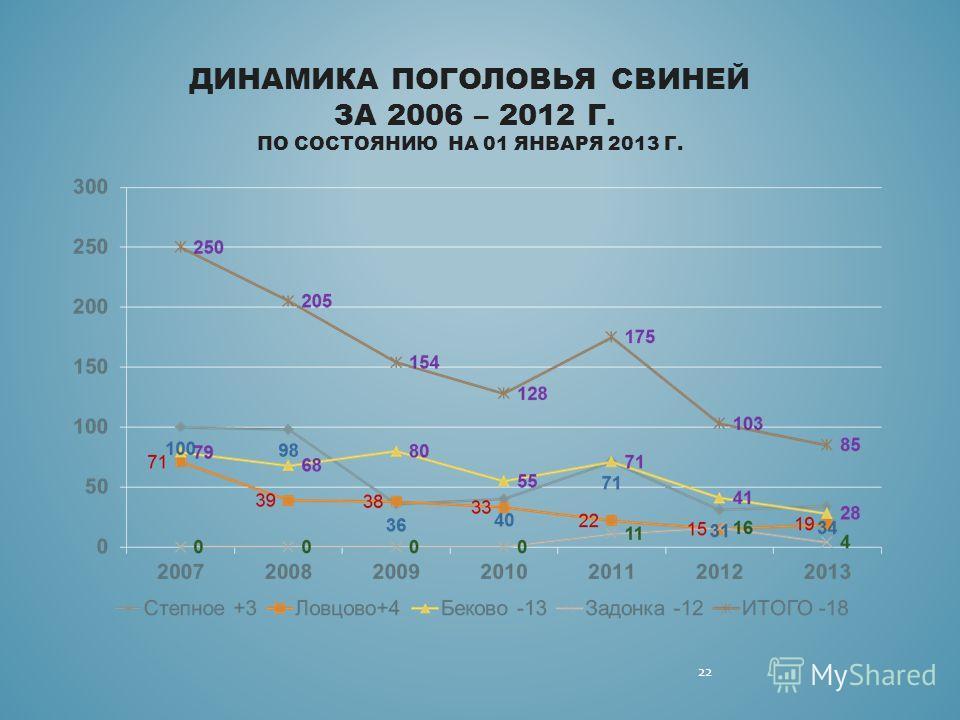 ДИНАМИКА ПОГОЛОВЬЯ СВИНЕЙ ЗА 2006 – 2012 Г. ПО СОСТОЯНИЮ НА 01 ЯНВАРЯ 2013 Г. 22