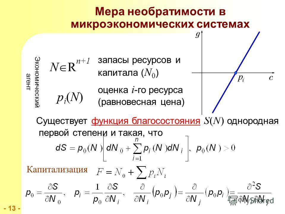 - 13 - Мера необратимости в микроэкономических системах Существует функция благосостояния S(N) однородная первой степени и такая, что Экономический агент N R n+1 запасы ресурсов и капитала ( N 0 ) pi(N)pi(N) оценка i -го ресурса (равновесная цена) Ка