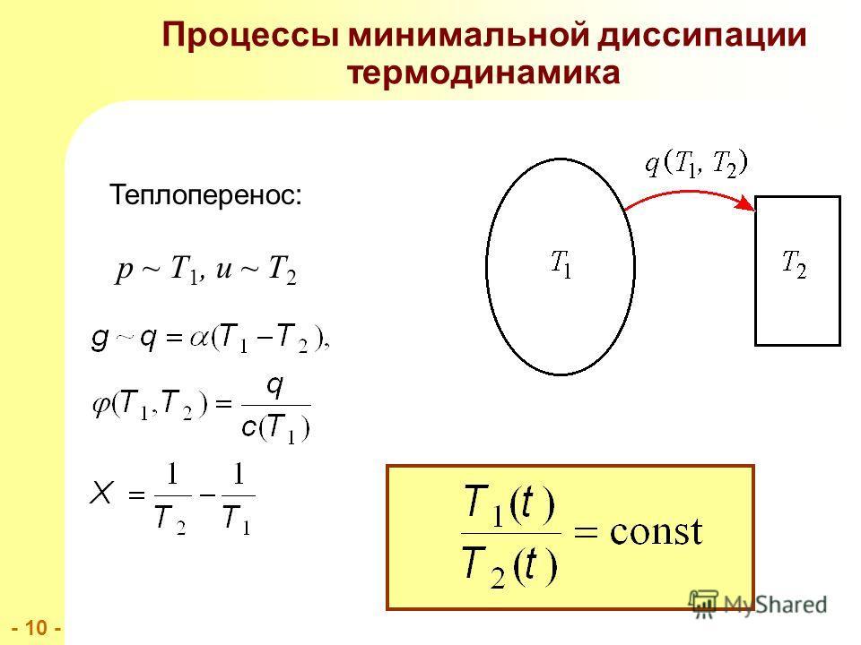 - 10 - Процессы минимальной диссипации термодинамика Теплоперенос: p ~ T 1, u ~ T 2