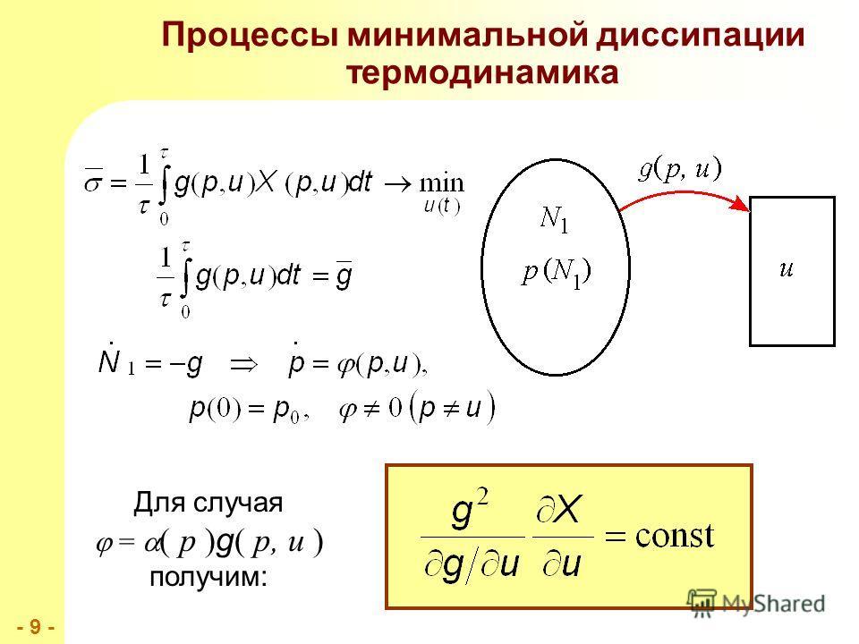 - 9 -- 9 - Процессы минимальной диссипации термодинамика Для случая = ( p ) g ( p, u ) получим: