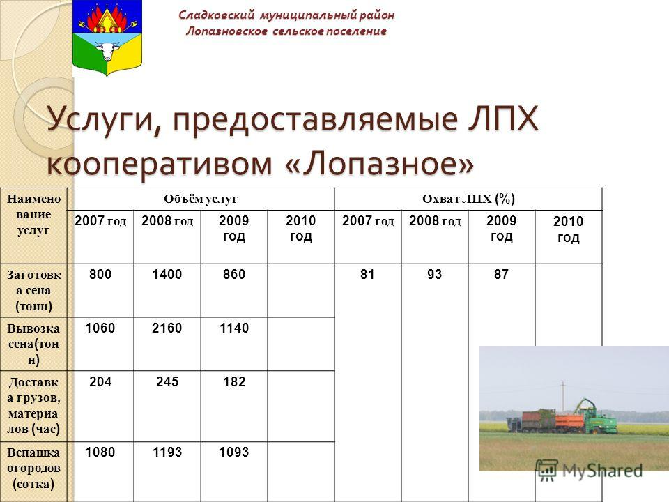 Услуги, предоставляемые ЛПХ кооперативом « Лопазное » Наимено вание услуг Объём услугОхват ЛПХ (%) 2007 год 2008 год 2009 год 2010 год 2007 год 2008 год 2009 год 2010 год Заготовк а сена ( тонн ) 8001400860819387 Вывозка сена ( тон н ) 106021601140 Д