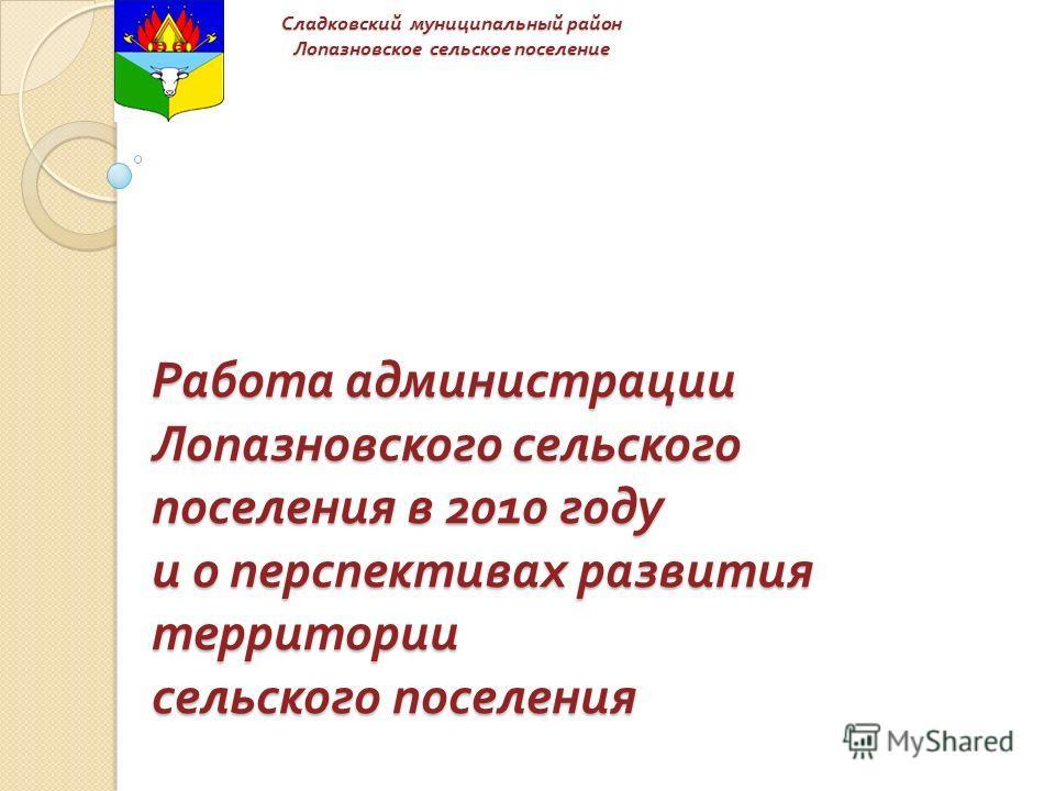 Работа администрации Лопазновского сельского поселения в 2010 году и о перспективах развития территории сельского поселения Сладковский муниципальный район Лопазновское сельское поселение