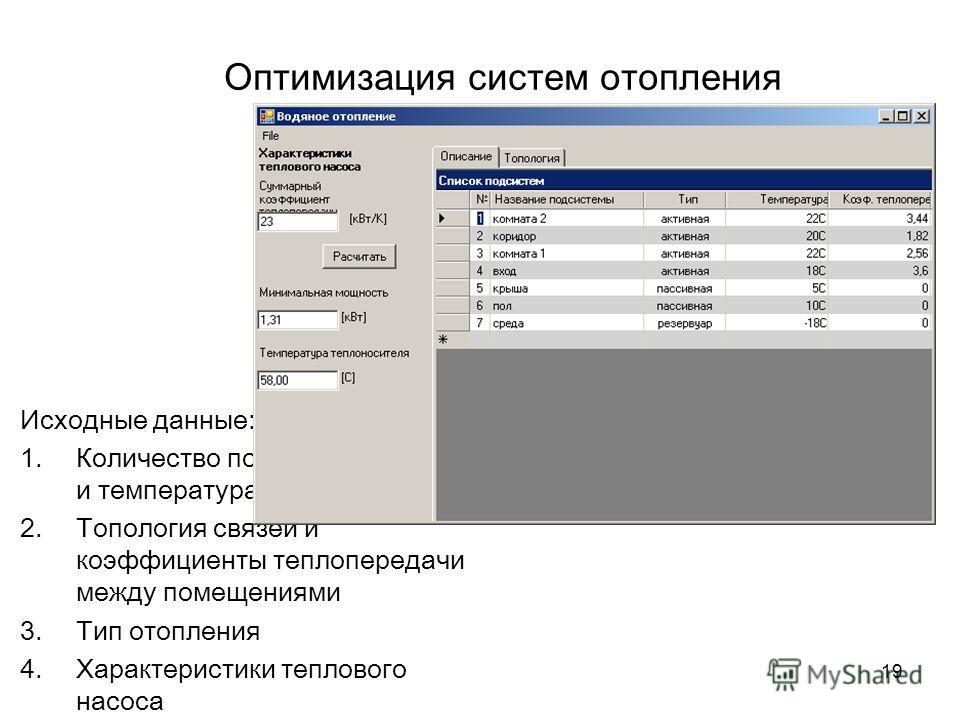 19 Оптимизация систем отопления Исходные данные: 1.Количество помещений, их тип и температура. 2.Топология связей и коэффициенты теплопередачи между помещениями 3.Тип отопления 4.Характеристики теплового насоса