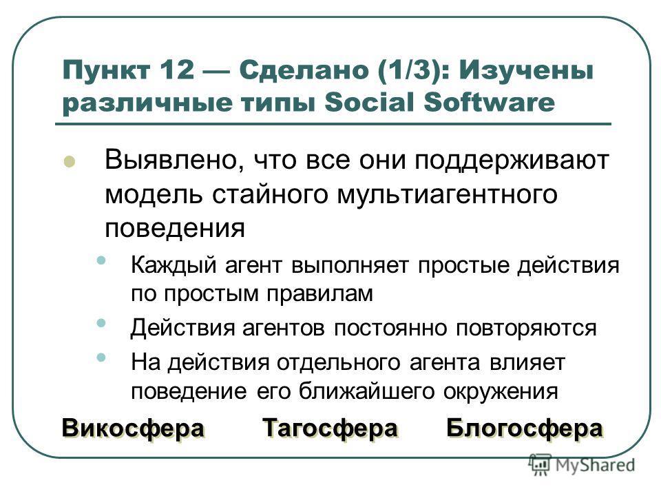 Пункт 12 Сделано (1/3): Изучены различные типы Social Software Выявлено, что все они поддерживают модель стайного мультиагентного поведения Каждый агент выполняет простые действия по простым правилам Действия агентов постоянно повторяются На действия