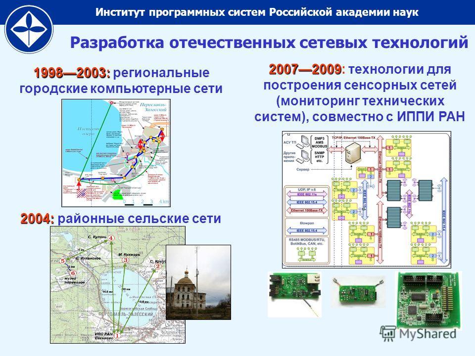 Институт программных систем Российской академии наук Разработка отечественных сетевых технологий 19982003: 19982003: региональные городские компьютерные сети 2004: 2004: районные сельские сети 20072009 20072009: технологии для построения сенсорных се