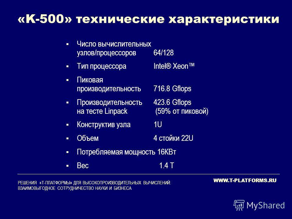 WWW.T-PLATFORMS.RU РЕШЕНИЯ «Т-ПЛАТФОРМЫ» ДЛЯ ВЫСОКОПРОИЗВОДИТЕЛЬНЫХ ВЫЧИСЛЕНИЙ: ВЗАИМОВЫГОДНОЕ СОТРУДНИЧЕСТВО НАУКИ И БИЗНЕСА «K-500» технические характеристики Число вычислительных узлов/процессоров64/128 Тип процессораIntel® Xeon Пиковая производит