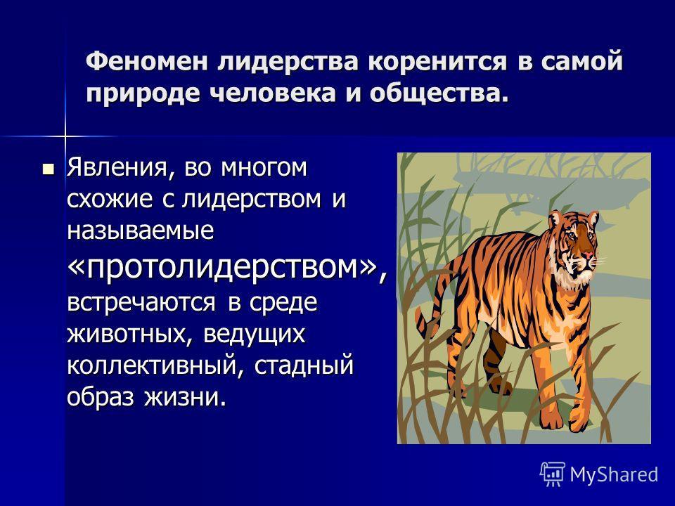 Феномен лидерства коренится в самой природе человека и общества. Явления, во многом схожие с лидерством и называемые «протолидерством», встречаются в среде животных, ведущих коллективный, стадный образ жизни. Явления, во многом схожие с лидерством и