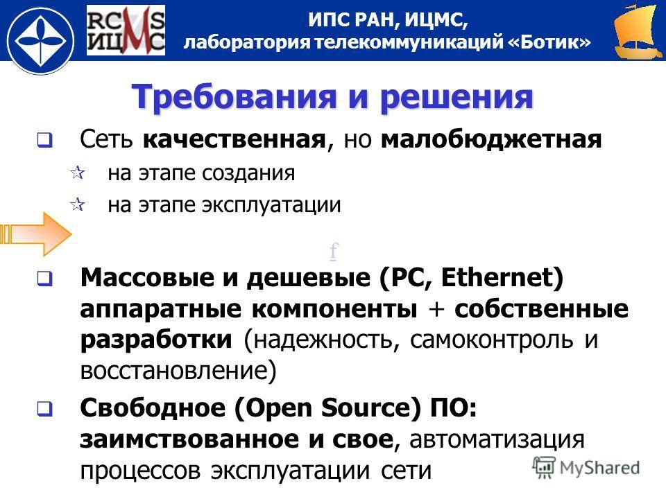 ИПС РАН, ИЦМС, лаборатория телекоммуникаций «Ботик» ff Требования и решения Сеть качественная, но малобюджетная на этапе создания на этапе эксплуатации Массовые и дешевые (PC, Ethernet) аппаратные компоненты + собственные разработки (надежность, само