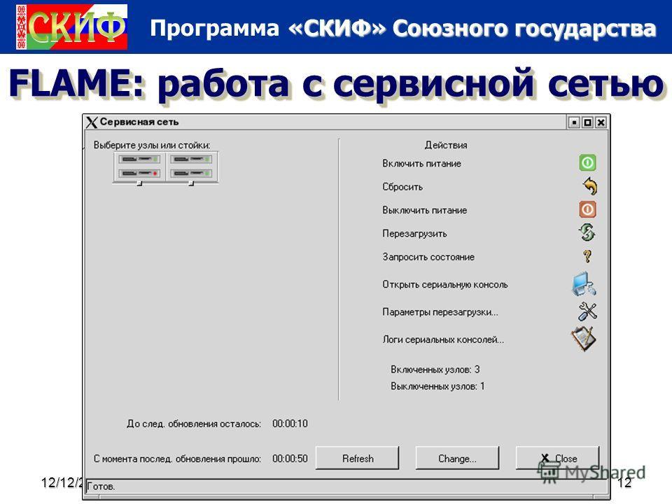 «СКИФ» Союзного государства Программа «СКИФ» Союзного государства 12/12/201312 FLAME: работа с сервисной сетью