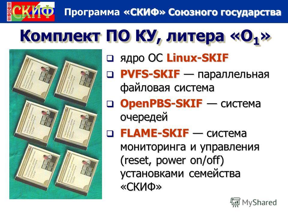 «СКИФ» Союзного государства Программа «СКИФ» Союзного государства Комплект ПО КУ, литера «О 1 » ядро ОС Linux-SKIF ядро ОС Linux-SKIF PVFS-SKIF параллельная файловая система PVFS-SKIF параллельная файловая система OpenPBS-SKIF система очередей OpenPB