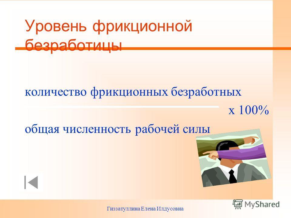Гиззатуллина Елена Илдусовна Уровень фрикционной безработицы количество фрикционных безработных х 100% общая численность рабочей силы