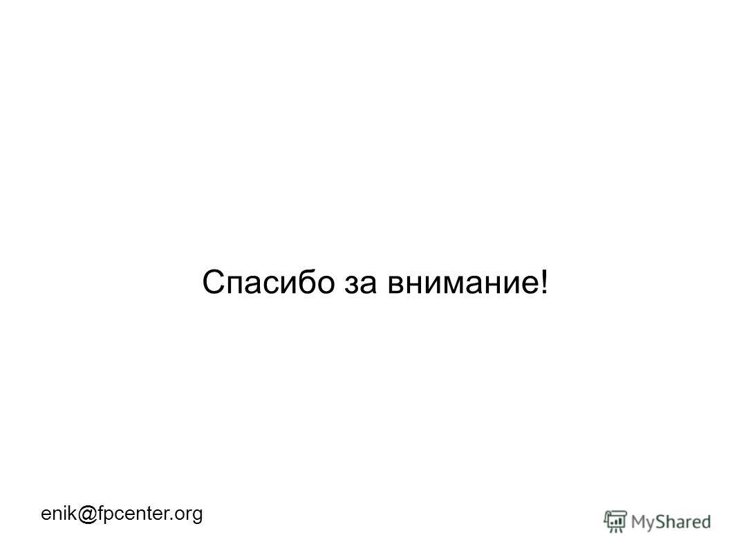 Спасибо за внимание! enik@fpcenter.org
