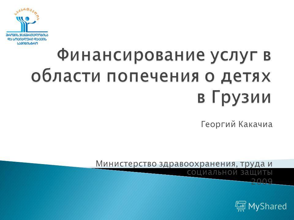 Георгий Какачиа Министерство здравоохранения, труда и социальной защиты 2009