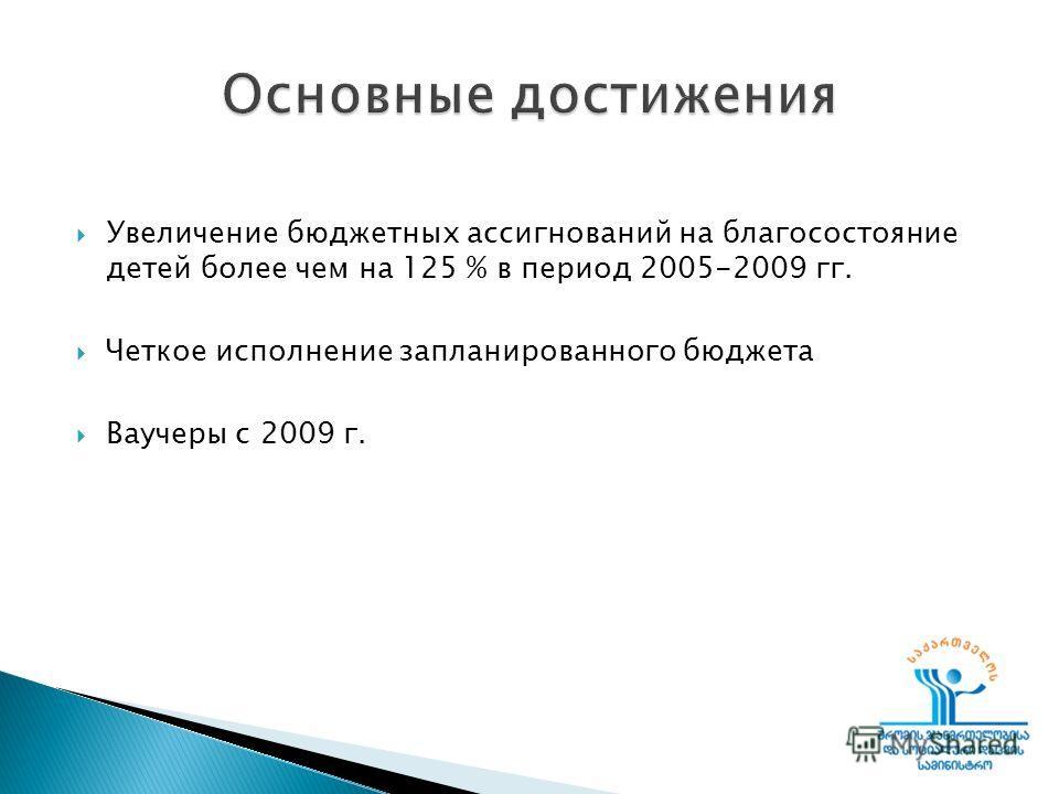 Увеличение бюджетных ассигнований на благосостояние детей более чем на 125 % в период 2005-2009 гг. Четкое исполнение запланированного бюджета Ваучеры с 2009 г.