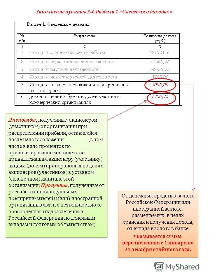 Заполнение пунктов 5-6 Раздела 1 «Сведения о доходах» От денежных средств в валюте Российской Федерации или иностранной валюте, размещаемых в целях хранения и получения дохода, от вклада в золото в банке указывается сумма перечисленная с 1 января по