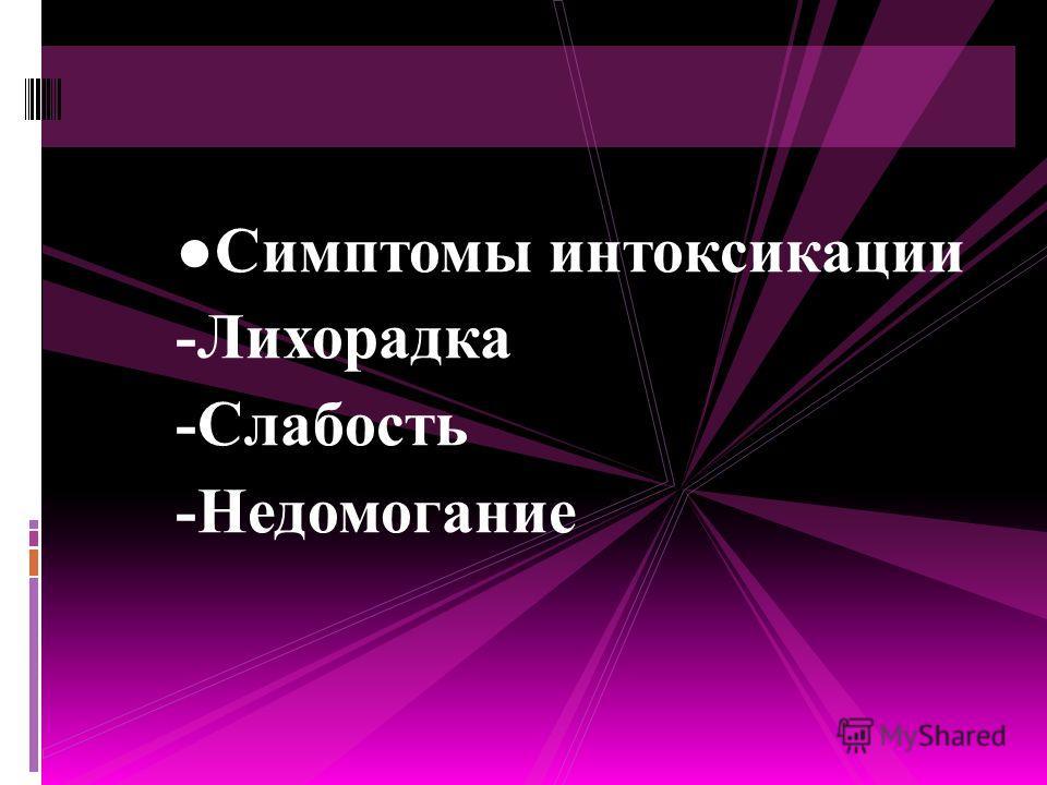 Симптомы интоксикации -Лихорадка -Слабость -Недомогание