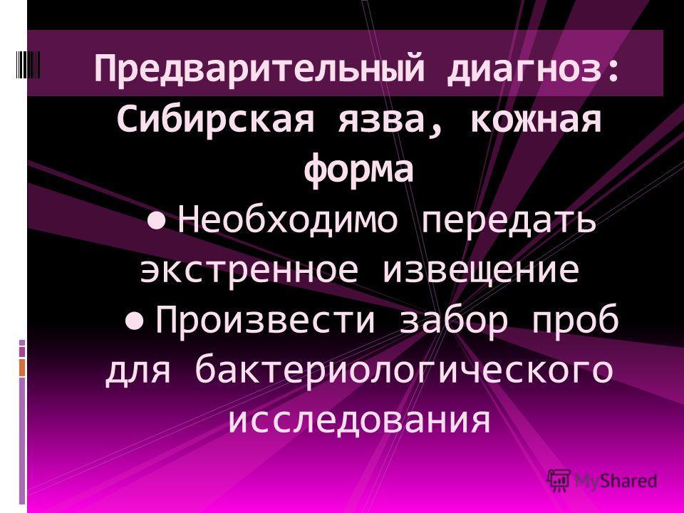Предварительный диагноз: Сибирская язва, кожная форма Необходимо передать экстренное извещение Произвести забор проб для бактериологического исследования