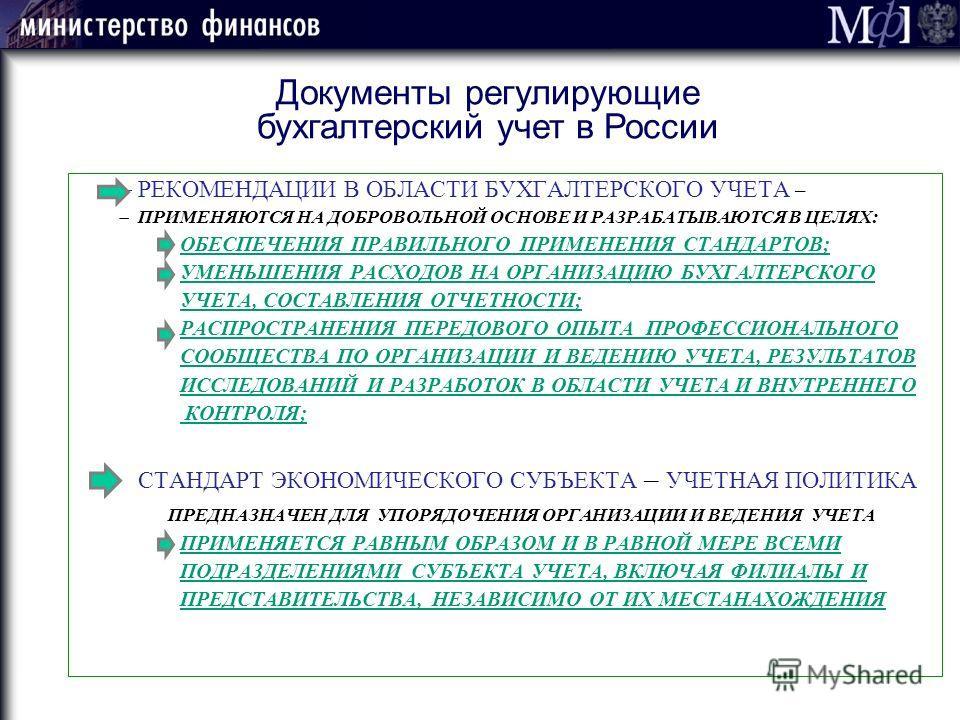 Документы регулирующие бухгалтерский учет в России РЕКОМЕНДАЦИИ В ОБЛАСТИ БУХГАЛТЕРСКОГО УЧЕТА – ПРИМЕНЯЮТСЯ НА ДОБРОВОЛЬНОЙ ОСНОВЕ И РАЗРАБАТЫВАЮТСЯ В ЦЕЛЯХ: ОБЕСПЕЧЕНИЯ ПРАВИЛЬНОГО ПРИМЕНЕНИЯ СТАНДАРТОВ; УМЕНЬШЕНИЯ РАСХОДОВ НА ОРГАНИЗАЦИЮ БУХГАЛТЕР