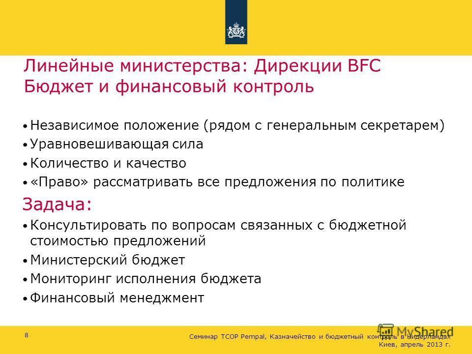 Линейные министерства: Дирекции BFC Бюджет и финансовый контроль Независимое положение (рядом с генеральным секретарем) Уравновешивающая сила Количество и качество «Право» рассматривать все предложения по политике Задача: Консультировать по вопросам