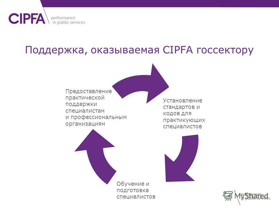 Установление стандартов и кодов для практикующих специалистов Обучение и подготовка специалистов Предоставление практической поддержки специалистам и профессиональным организациям Поддержка, оказываемая CIPFA госсектору