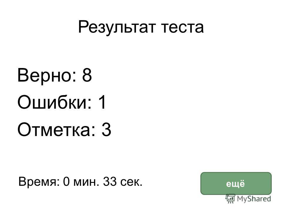 Результат теста Верно: 8 Ошибки: 1 Отметка: 3 Время: 0 мин. 33 сек. ещё