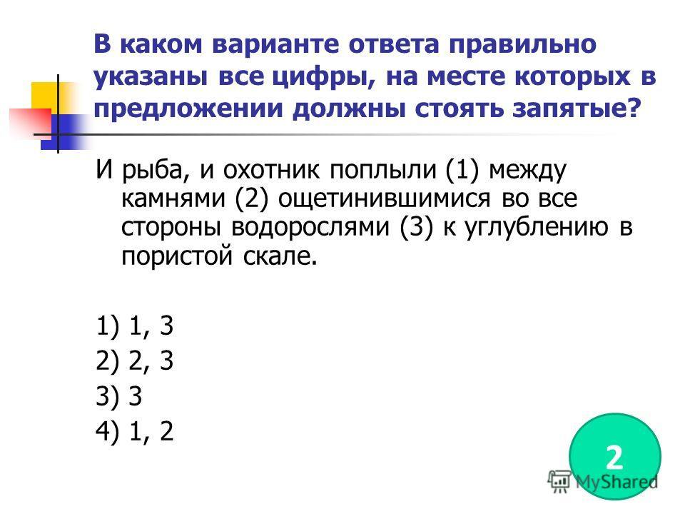 В каком варианте ответа правильно указаны все цифры, на месте которых в предложении должны стоять запятые? И рыба, и охотник поплыли (1) между камнями (2) ощетинившимися во все стороны водорослями (3) к углублению в пористой скале. 1) 1, 3 2) 2, 3 3)