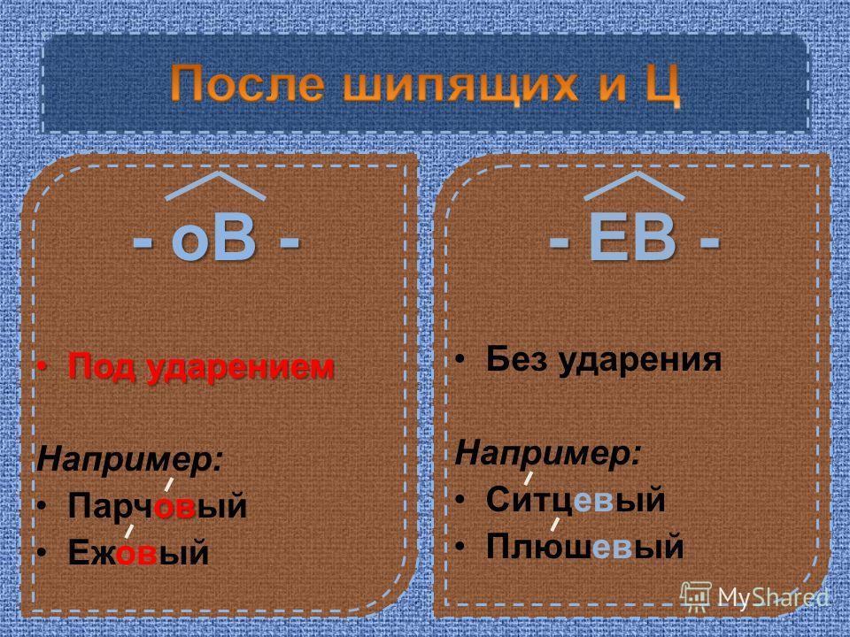 - оВ - Под ударениемПод ударением Например: овПарчовый Ежовый - ЕВ - Без ударения Например: Ситцевый Плюшевый