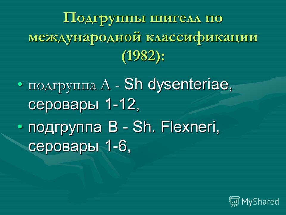 Подгруппы шигелл по международной классификации (1982): подгруппа А - Sh dysenteriae, серовары 1-12,подгруппа А - Sh dysenteriae, серовары 1-12, подгруппа В - Sh. Flexneri, серовары 1-6,подгруппа В - Sh. Flexneri, серовары 1-6,