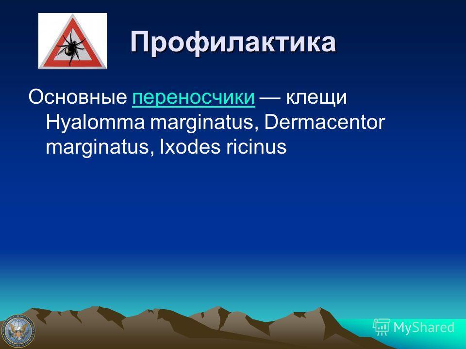 Профилактика Основные переносчики клещи Hyalomma marginatus, Dermacentor marginatus, Ixodes ricinusпереносчики