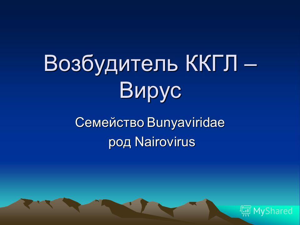 Возбудитель ККГЛ – Вирус Семейство Bunyaviridae род Nairovirus род Nairovirus