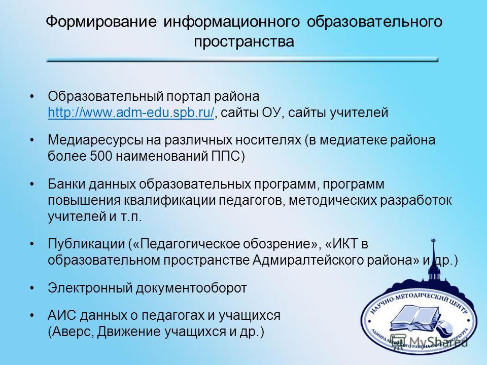 Формирование информационного образовательного пространства Образовательный портал района http://www.adm-edu.spb.ru/, сайты ОУ, сайты учителей http://www.adm-edu.spb.ru/ Медиаресурсы на различных носителях (в медиатеке района более 500 наименований ПП