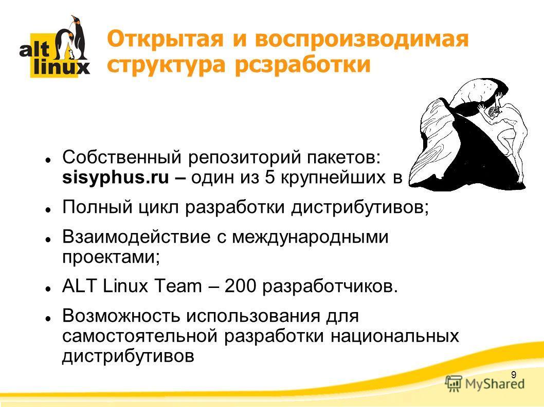 9 Открытая и воспроизводимая структура рсзработки Собственный репозиторий пакетов: sisyphus.ru – один из 5 крупнейших в мире; Полный цикл разработки дистрибутивов; Взаимодействие с международными проектами; ALT Linux Team – 200 разработчиков. Возможн