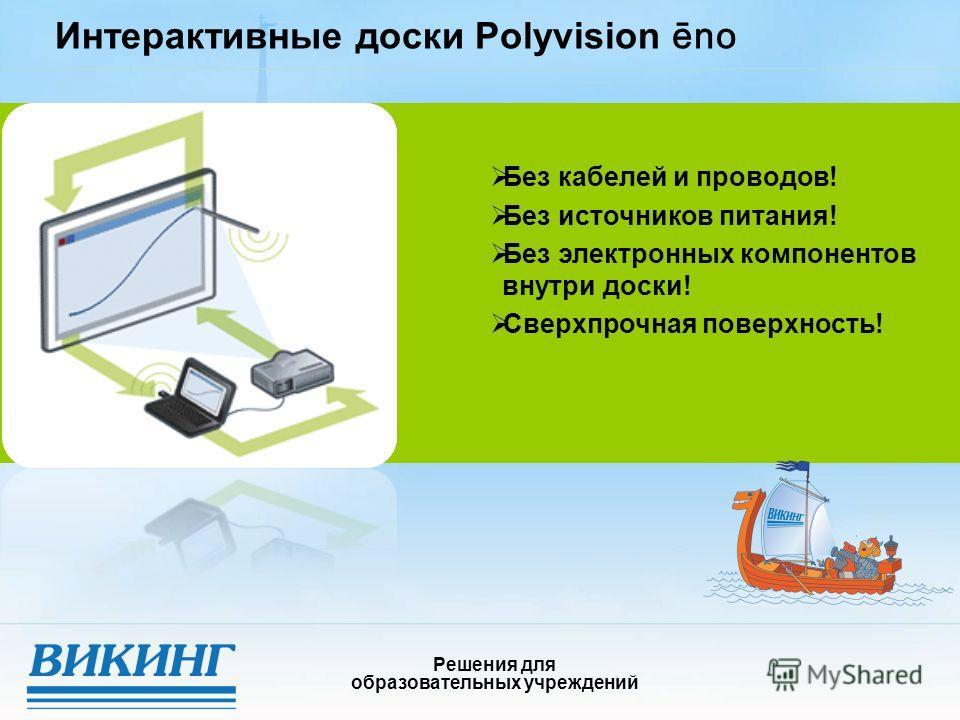 Интерактивные доски Polyvision ēno Решения для образовательных учреждений Без кабелей и проводов! Без источников питания! Без электронных компонентов внутри доски! Сверхпрочная поверхность!