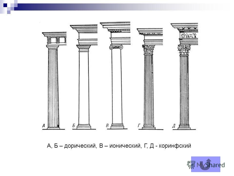 А, Б – дорический, В – ионический, Г, Д - коринфский