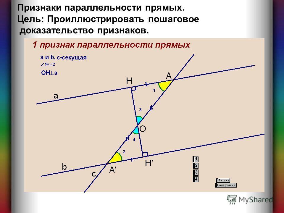 Признаки параллельности прямых. Цель: Проиллюстрировать пошаговое доказательство признаков.